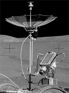 NASA Photo : Apollo 15 TV camera and high-gain antenna attached to the Lunar Roving Vehicle.
